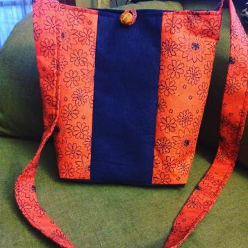 orange and blue bag